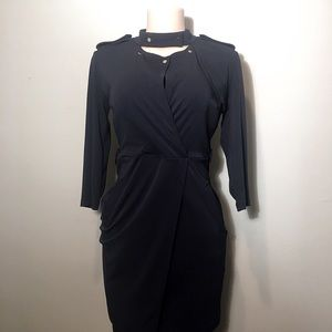 Ann Taylor Navy Gold Button Dress - B4